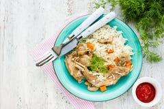 兔子炖煮的食物用红萝卜和蘑菇与一道配菜巴丝马香米 库存照片