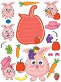 兔子猫Fruit_eps 免版税库存照片