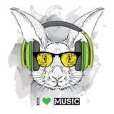 兔子的图象在玻璃和耳机的 也corel凹道例证向量 免版税库存照片
