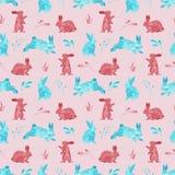 兔子的水彩无缝的样式 复活节或孩子背景 库存照片