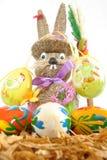 在白色背景的复活节兔子 免版税图库摄影