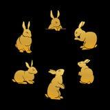 兔子金剪影 免版税库存照片