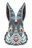 兔子顶头zentangle传统化了与在前额的心脏,例证,样式, f 库存图片
