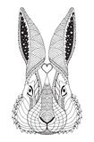 兔子顶头zentangle传统化了,导航,例证,样式, f 库存图片