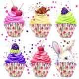 兔子,蛋糕奶油和莓果 T恤杉图表、兔子例证和飞溅水彩构造了背景 库存照片