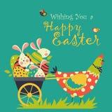 兔宝宝、鸡和复活节彩蛋 免版税库存照片