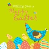 兔宝宝、鸡和复活节彩蛋 库存照片