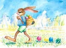 兔宝宝丢失的复活节彩蛋 库存图片