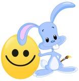 兔宝宝兴高采烈的复活节彩蛋被绘 向量例证