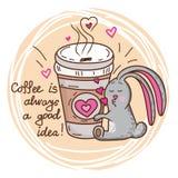 兔宝宝和咖啡 免版税库存图片