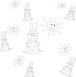 兔宝宝和太阳 库存图片