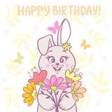 兔宝宝和花 免版税图库摄影