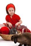 兔宝宝复活节女孩一点 图库摄影