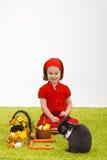 兔宝宝复活节女孩一点 免版税库存图片