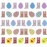 兔宝宝复活节彩蛋无缝的数据条 免版税库存照片