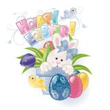 兔宝宝复活节花盆 免版税库存图片