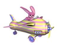 兔宝宝复活节飞行飞机 库存图片
