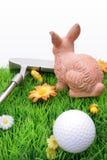 兔宝宝复活节高尔夫球运动员s 免版税库存图片