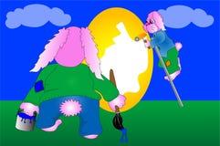兔宝宝复活节彩蛋绘画 库存照片