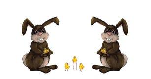 兔宝宝小鸡复活节 免版税库存图片