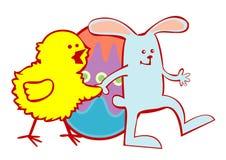 兔宝宝小鸡复活节 向量例证