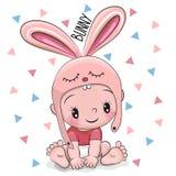 兔宝宝帽子的逗人喜爱的动画片男婴 库存图片