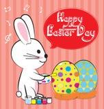 兔宝宝油漆鸡蛋 免版税库存照片