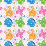 兔宝宝滑稽的无缝的墙纸 免版税库存照片