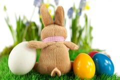 兔宝宝用五颜六色的复活节彩蛋 免版税库存图片