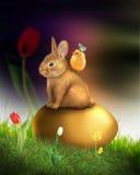 兔宝宝看板卡复活节问候蜂蜜 免版税库存图片