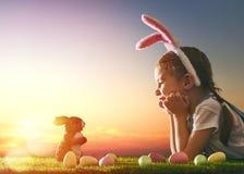 兔宝宝耳朵女孩佩带 图库摄影