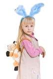 兔宝宝耳朵女孩 免版税库存照片