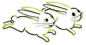 兔宝宝被画的现有量 库存图片