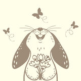兔宝宝逗人喜爱的剪影 免版税库存图片
