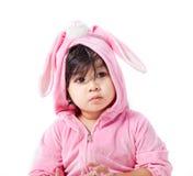 兔宝宝风俗的婴孩 库存照片