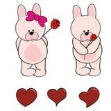 兔宝宝婴孩逗人喜爱的动物动画片贴纸集合 免版税库存图片