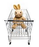 兔宝宝购物车 免版税库存图片