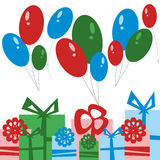 党卡片 礼物盒和气球 库存图片