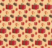 党提出在米黄背景的五颜六色的无缝的样式 样式织品印刷品的礼物盒,包裹包裹礼物盒纸 库存图片