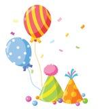 党气球和五彩纸屑。 免版税库存图片