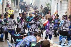 党的中国hani长的街道 免版税库存图片