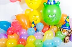 党的五颜六色的气球 免版税库存照片