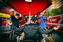 党蝙蝠侠样式, Gaslamp处所,圣地亚哥可笑的骗局 免版税库存照片