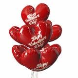 党迅速增加红色气球现代假日 重点查出的形状蕃茄白色 3d例证 免版税库存照片