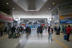 入区域,关西国际机场KIX,大阪,日本 免版税图库摄影