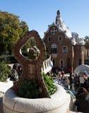 入口在公园Guell在巴塞罗那,西班牙 库存照片