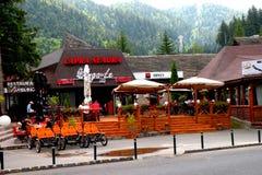 入口在Poiana布拉索夫,滑雪冬天驻地 图库摄影