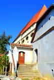 入口在Saschiz & x28的被加强的中世纪教会里; Keisd& x29; 特兰西瓦尼亚 免版税库存图片