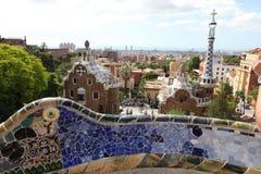 入口房子的上面从公园Guell的在巴塞罗那 库存照片
