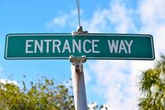 入口方式路标 免版税库存照片